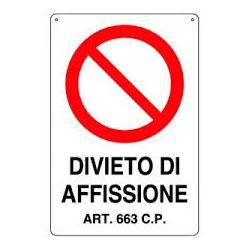 Cartello segnaletico divieto di affissione