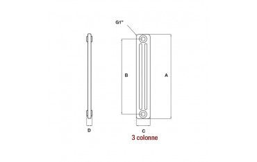 Radiatore Ercos Comby H1800 3 colonne bianco