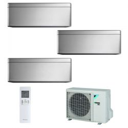 Climatizzatore Daikin Trial Split STYLISH Silver inverter R 32 bluevolution 9000+9000+12000 con 3MXM52M 9+9+12