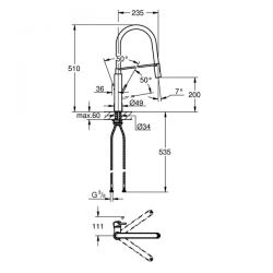 Miscelatore Lavello Grohe CONCETTO NERA Super Steel - 31491DC0