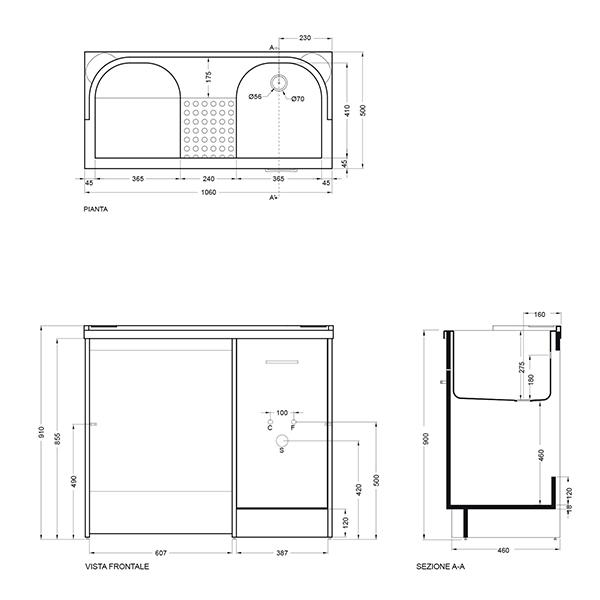 Sezione Vasca Da Bagno.Lavatoio Copri Lavatrice Con Vasca Destra Domestica Colavene 106x50