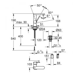 Miscelatore Lavabo Grohe PLUS con Display Cromo - 23848003