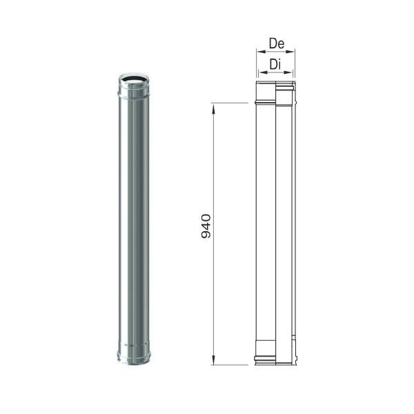 Tubo PP Inox 80/100 da 500 mm