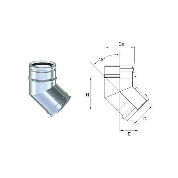 Tubo PP Inox 80/100 da 1000 mm
