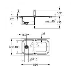 Set Lavello e Miscelatore Eurosmart Grohe Acciaio Inox - 31565SD0