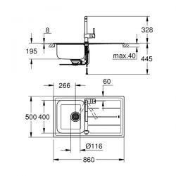 Set Lavello e Miscelatore Minta Grohe Acciaio Inox - 31573SD0