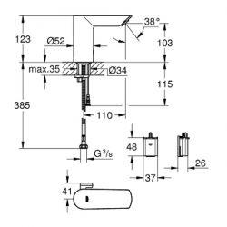 Miscelatore Elettronico ad Infrarossi Lavabo Grohe Bau Cosmopolitan E - 36451000