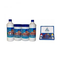 Kit Pulizia Piscina 4+1 T Cloro Disinfettante Anti Alghe Riduttore PH 4 All