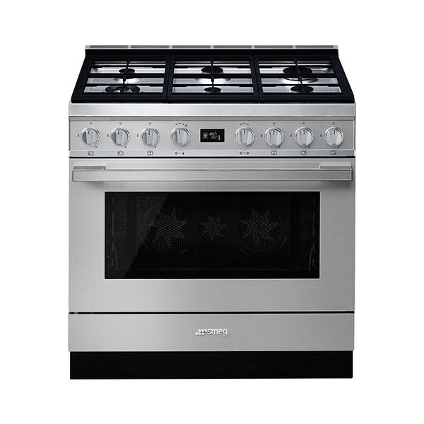 Cucina con Piano a Gas e Forno Pirolitico Multifunzione Smeg Portofino Classe A+ Inox - CPF9GPX