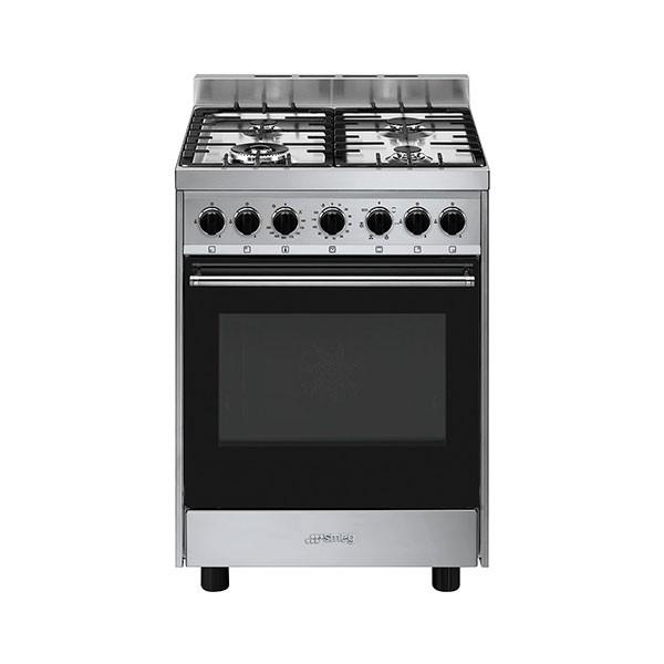 Cucina con Piano a Gas e Forno Ventilato Smeg Master Glass Classe A Inox - B901GMXI9