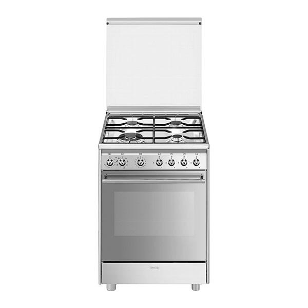 Cucina con Piano a Gas e Forno Ventilato Smeg Master Glass Classe A Inox - B601GMXI9